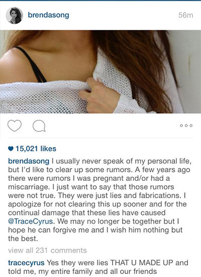 brenda-song-instagram-trace-cyrus-comment