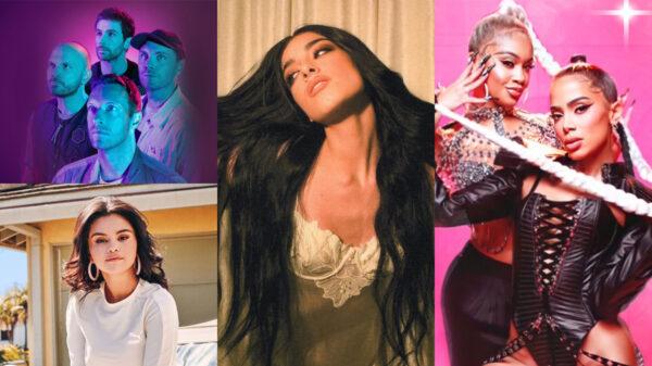 Coldplay feat Selena Gomez, funk em inglês da Anitta, novo single de Dixie D'Ameio e mais; confira os novos lançamento 15/10